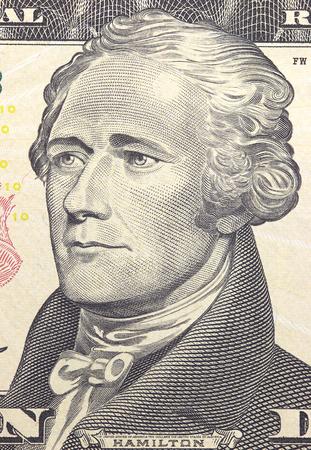 alexander hamilton: Alexander Hamilton face on US ten or 10 dollars bill macro, united states money closeup