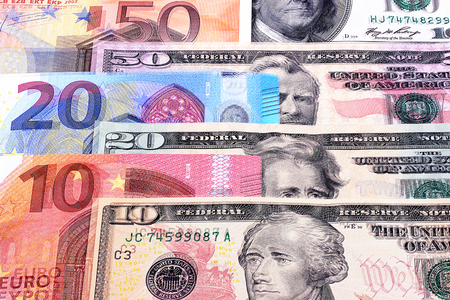 denominations: Money background american dollars and euro different denominations