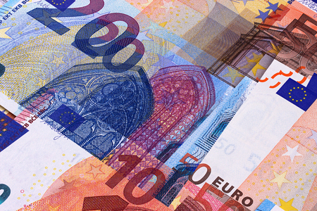 Euro Money Banknotes of Different denominations abstract background