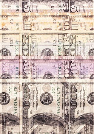 denominations: Abstract dollar bills of different denominations background Stock Photo