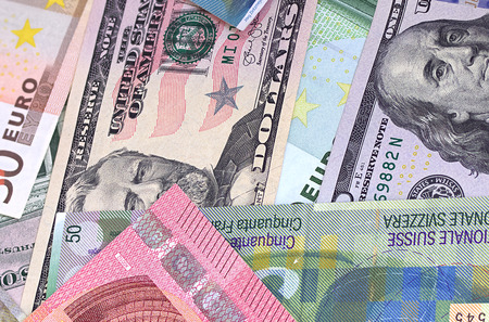 swiss franc note: Abstract dollar euro and swiss franc background Stock Photo