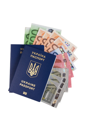 Ukrainian passport with euro money isolated on white background Stok Fotoğraf