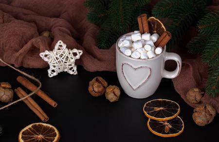 Christmas background anice marshmellow, star cinnamon cookies cones