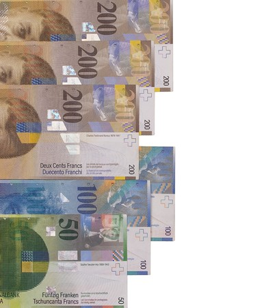 Swiss francs bill isolated on white background.