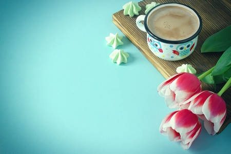 Red tulip white white border on blue background cacao cup marshmallow Stock Photo