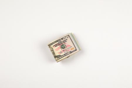 Stack of USA 50 dollars isolated on white background Stock Photo