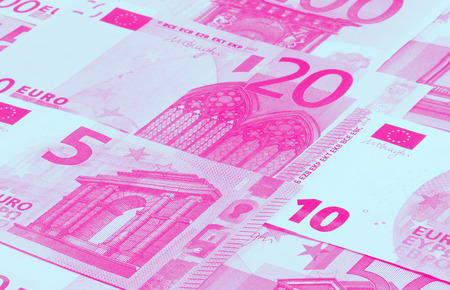 Euro money of different denominations duotone abstract background Stock Photo