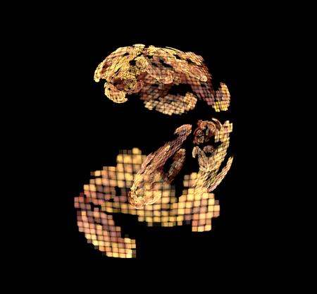 Abstract colorful orange and golden pixel fractal on black background. Fantasy fractal texture. Digital art. 3D rendering. Computer genenerated image