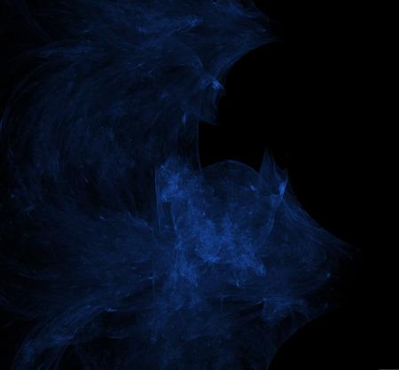 Nebulas blue fractal on black background. Digital art. 3D rendering. Computer generated image Foto de archivo - 112005439
