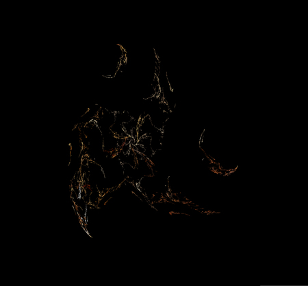 White brown fractal on black background. Fantasy fractal texture. Digital art. 3D rendering. Computer generated image