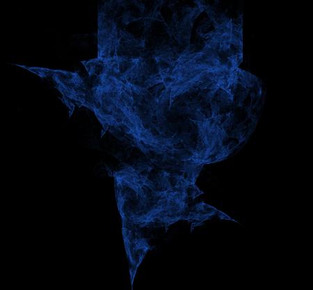 Nebulas blue fractal on black background. Digital art. 3D rendering. Computer generated image Foto de archivo - 112005377