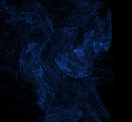 Nebulas blue fractal on black background. Digital art. 3D rendering. Computer generated image Foto de archivo - 112005379