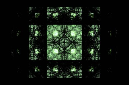 Green square fractal pattern on black background.Mosaic texture. Digital style. Ornament illustration