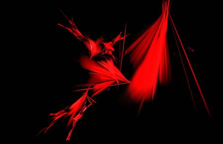 Black red black abstract fractal in modern style on black background. Abstract geometric paper background.