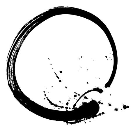 円の形で黒のブラシ ストローク。インク スケッチ手作り技法で作成した図面。黒と白。