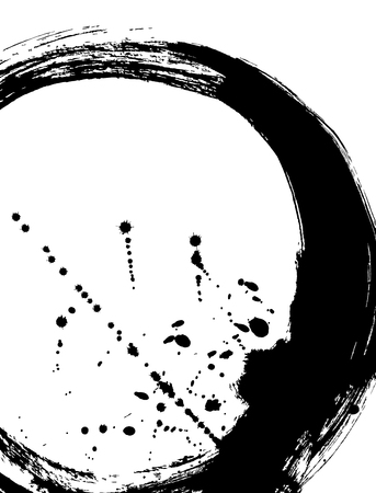 Black brush stroke in the form of a circle. Drawing created in ink sketch handmade technique. Black and white. Illustration