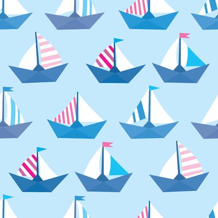 Modèle vectorielle continue avec des navires en papier coloré. Texture de la mer Vecteurs