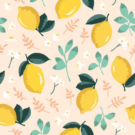 Vector summer pattern with lemons, flowers and leaves. Seamless texture design.