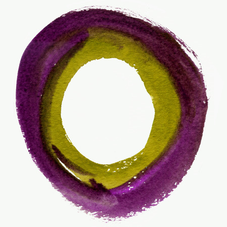 Round watercolor frame, circle shape form isolated on white background. Handmade technique.