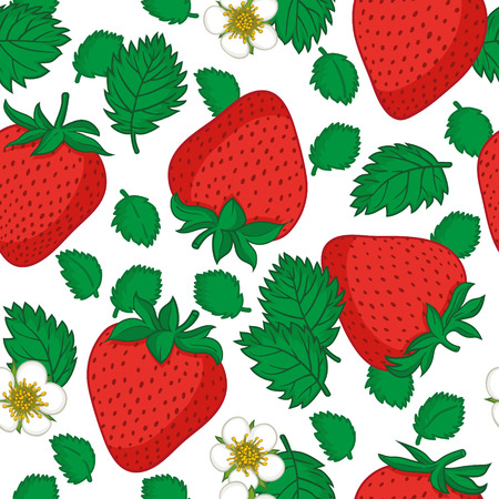 Vector seamless pattern with strawberries. Graphic stylized drawing. Illustration