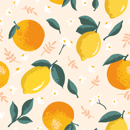 Vector summer pattern with lemons, oranges, flowers and leaves. Seamless texture design.