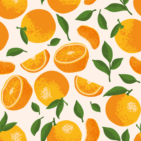 Vector summer pattern with oranges, flowers and leaves. Seamless texture design. Illustration