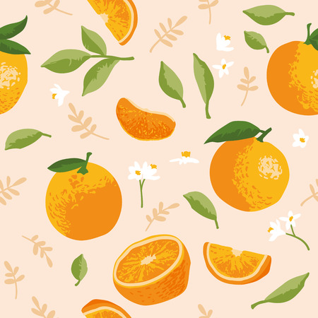 Vector summer pattern with oranges, flowers and leaves. Seamless texture design. Иллюстрация