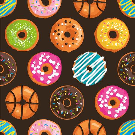 明るい甘いドーナツとシームレスなパターン ベクトル