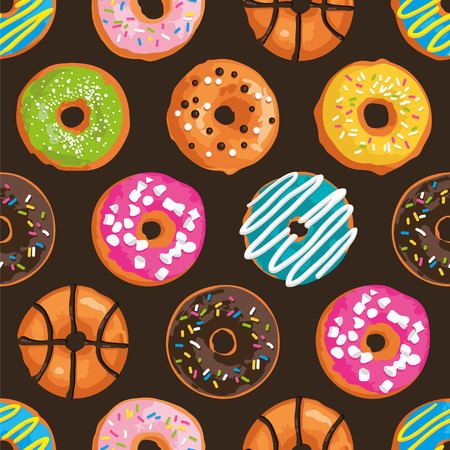 Vector seamless pattern with bright sweet donuts