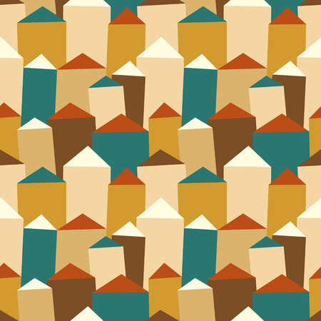 blockhouse: Vector seamless pattern with houses and roofs Illustration