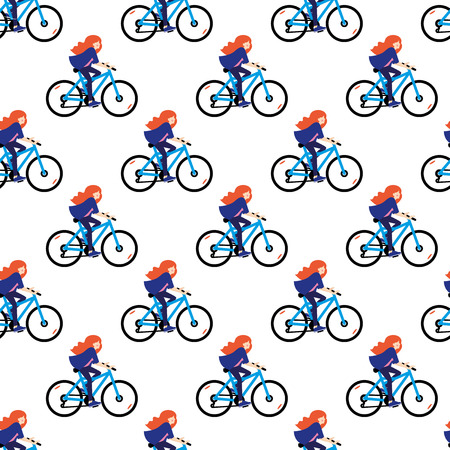 Vector seamless pattern with girls riding bicycle