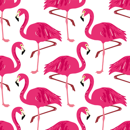 Vector seamless pattern with flamingos.