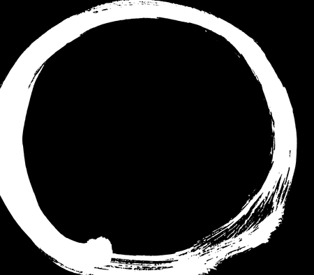 Black brush stroke in the form of a circle. Drawing created in ink sketch handmade technique.