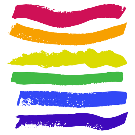 Bright painted rainbow watercolor strips. Hand drawn red, orange, yellow, green, blue, violet elements. Illustration