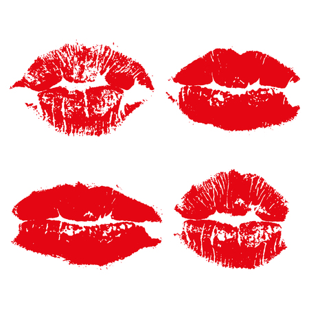 Set imprint kiss red lips isolated on white background 向量圖像