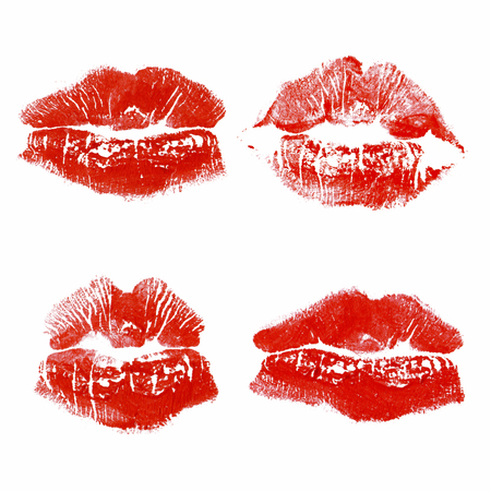 Set imprint kiss red lips isolated on white background 版權商用圖片