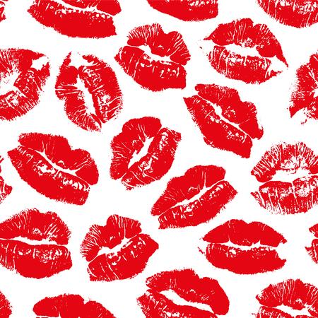 Modèle sans couture de vecteur avec empreinte baiser lèvres rouges