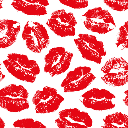 Vector seamless pattern with imprint kiss red lips Фото со стока - 116285300