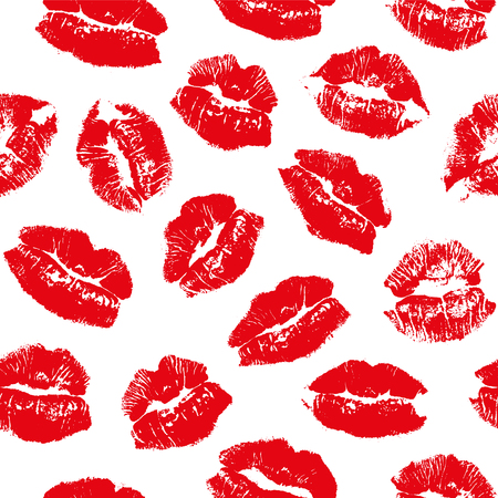 Vector seamless pattern with imprint kiss red lips