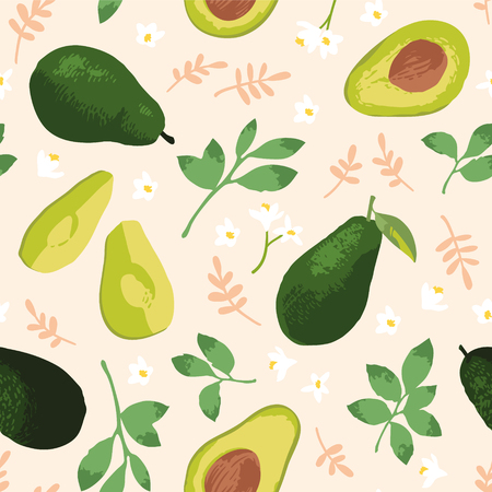 Vector summer pattern with avocado, flowers and leaves. Seamless texture design.