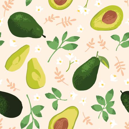 Vektorsommermuster mit Avocado, Blumen und Blättern. Nahtloses Texturdesign. Vektorgrafik