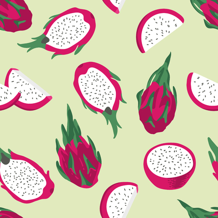 Vector summer pattern with dragon fruit (pitaya), flowers and leaves. Seamless texture design.