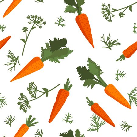 Vector summer pattern with carrots, flowers and leaves. Seamless texture design. Ilustracja