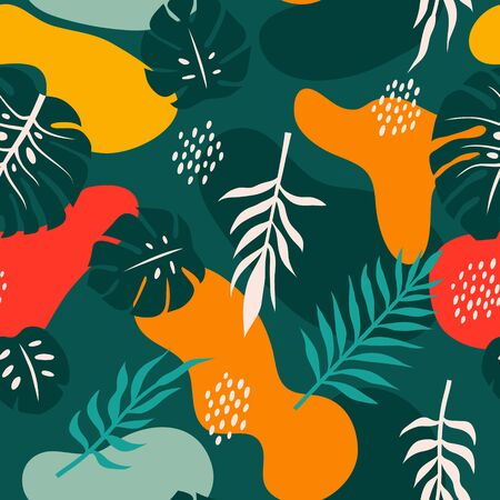 Vector seamless pattern with tropical palm leaves. Graphic stylized drawing. Banque d'images - 138722822