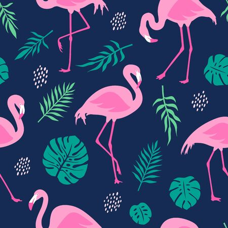 Vector seamless pattern with pink flamingos and tropical palm leaves. Hand Drawn illustration.