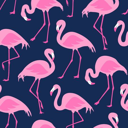 Vector seamless pattern with flamingos