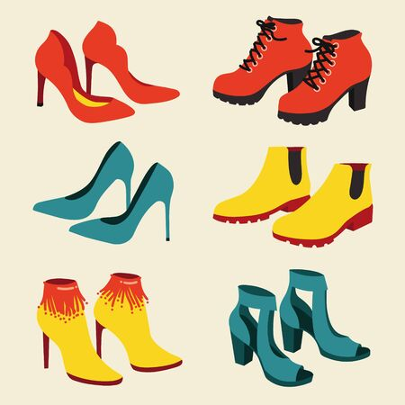 Vector set of fashionable woman shoes isolated on white background.