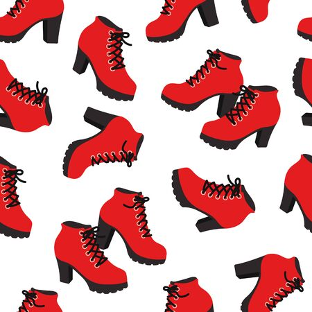 Vector seamless pattern with fashionable shoes. Handdrawn texture design.