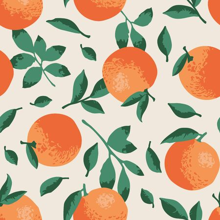 Vector summer pattern with oranges, flowers and leaves. Seamless texture design.