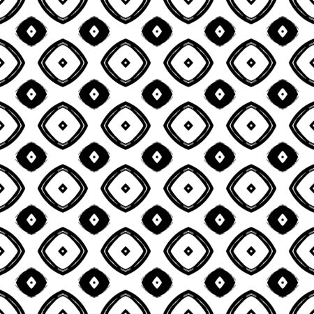 Vector black and white seamless pattern in boho style Çizim